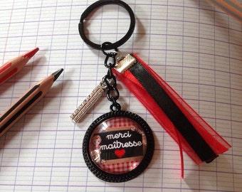 "1 ""thank you teacher"" key holder black cabochon glass, black, red ribbons and charm ""sets"""