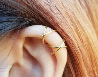 Two Criss Cross Ear Cuffs Cartilage Ear Cuff Set No Pierce Ear Cuffs Simple Ear Cuffs Fake Cartilage Earrings Fake Helix Piercing 22k Gold