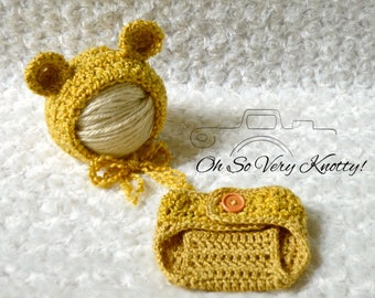 Classic Winnie the Pooh Inspired Outfit and/or Bonnet Sizes from NB to 6-9 months. Baby Handmade Crochet Photo Prop. Gender Neutral.