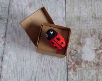 Knitted Ladybird Brooch, Hand Knitted Ladybird, brooch, Nature, Insects,Handmade, Wool