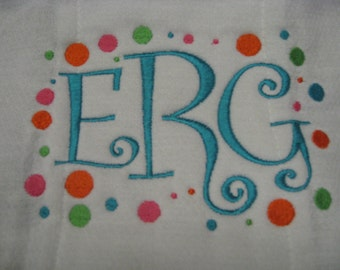 Personalized Embroidered Baby Burp Cloth Set of Two with Monogram B119