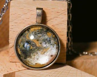 Gem pendant painting unique silver ochre/Pendant art painting unique piece silver ochre