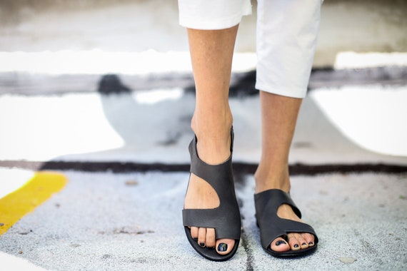 Sandals Leather Sandals Toe Summer Shoes Kara Sandals Sandals SALE Slingback Ring Handmade Grey Sandals Grey Greek Sandals EqXwx1COx