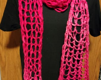 Long and Lacey Pink Ombre Scarf