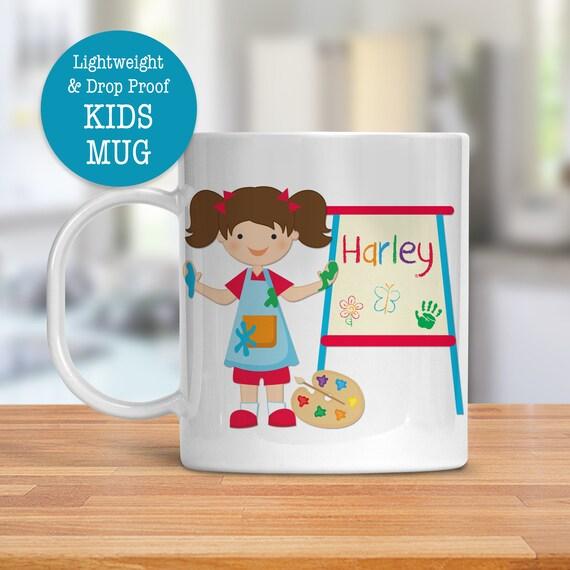 Kids Mug - Personalized Mug - Cute Arts Painting Mug - Dishwasher Safe - Lightweight Drop Proof Cup for Kids - Plastic Mug for Kid
