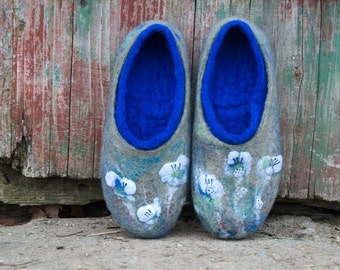 Felted wool slippers Women home shoes Green Blue wool slippers Boiled wool slippers gift for her