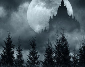 Halloween Backdrop - night woods, black castle with big moon, scary scene - Printed Fabric Photography Background G1145