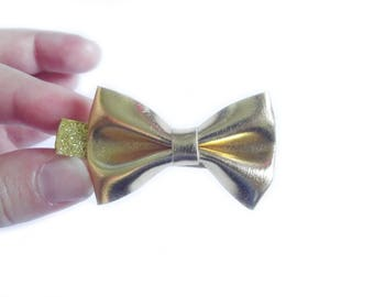 Gold Bow Hair Clip Gold Hair Clip Leather Bow Faux Leather Hair Clip Glitter Hair Clip Sparkle Hair Clip Baby Girl Hair Clip Toddler Girl