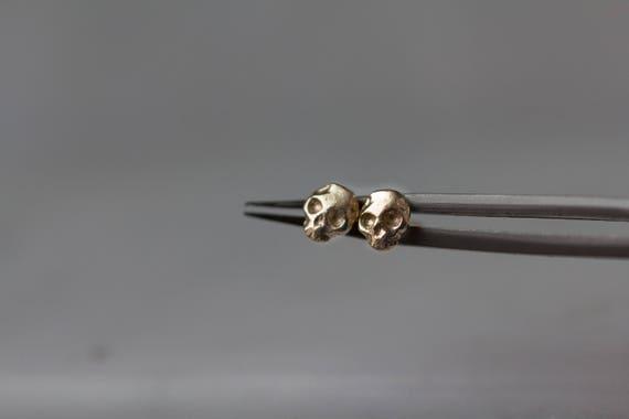14k Gold Mignon Skull Stud earrings tiny skull stud earrings