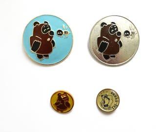 Winnie the Pooh Cartoon vintage enamel pins, metal badges, Vintage Soviet memorabilia 1980s USSR