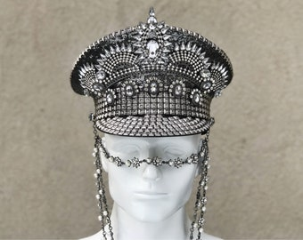 FREE SHIPPING! Crowning Glory Military Hat in Crystal Gunmetal. Burning man Hat. Captains hat.