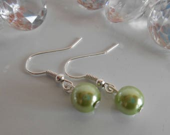Wedding earrings lime green beads