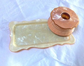 Art Deco Vanity Tray and Hair Receiver, French Ivory Vanity Set, Ivoris Pearl Tone, Pale Yellow and Peach, Excellent Condition, 1920s