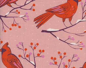 Cotton + Steel Winter Forest Pink, Pink Cardinal Fabric