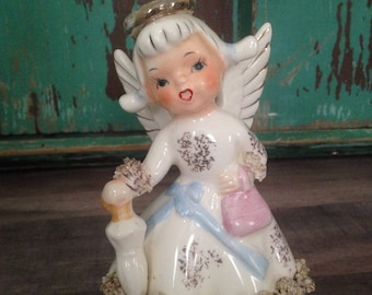 Vintage Lefton August Birthday Angel with Umbrella and Purse