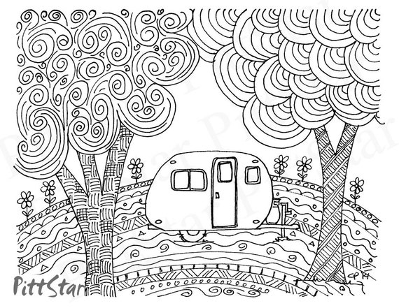Free Coloring Pages 1950s : Instant Download Doodled Retro Vintage Whimsical Travel