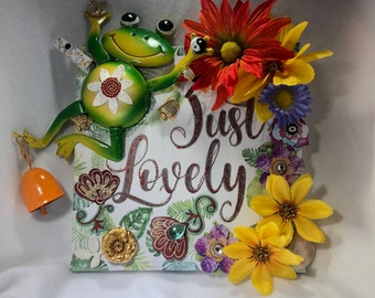 JUST LOVELY, Life Is Good, Flowers, Frog, Original Art, Magnets, Nature, One Of a Kind