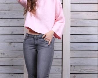 Loose linen crop top / Linen blouse / Linen shirt with 3/4 sleeves / rose