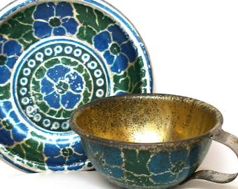 1900s Tin Toy Tea Set, Blue flowers cup & saucer.