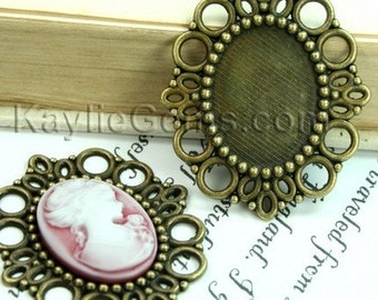 3 pcs Antique Brass Victorian Style Cameo Frame, Setting, Pendants - FRM-1988AB