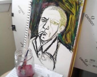 Pollock original mixed media on paper