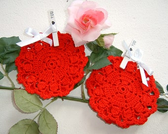 Crochet Coasters-Set of six red cotton coasters-small crochet centers-table linens-Christmas gifts