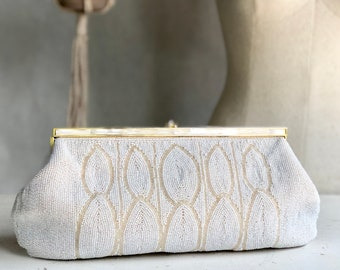 Large White Beaded Kiss Lock Clutch Evening Bag