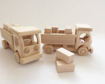 New Handcrafted Natural Ecological Organic One Wooden Track With Blocks - Toys Girls Boys - Maybe For Painting Size Approx 8 in or 20 cm