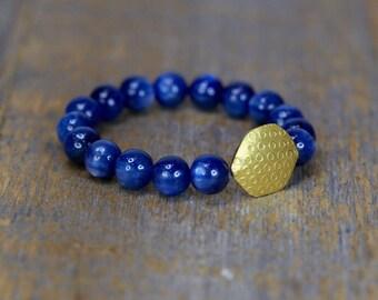 kyanite bracelet solid 18 karat gold fine jewelry womens gift gold bracelet kyanite gemstone beaded bracelet unique gift for her wedding