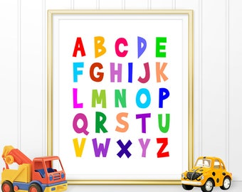 Alphabet Printable, Childrens Wall Art, Alphabet Nursery Decor, Playroom Print, Kids Room Wall Art, Scandinavian Nursery Wall Art (W0157)