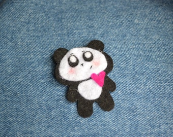 Little Cute Felt Panda Heart Brooch
