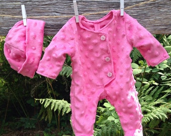 "15""  Baby doll clothes made to fit bitty baby (pink Minky dimple dot sleeper and beanie hat)"