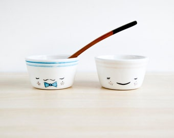 Mr and Mrs ceramic bowls set, Pottery bowls, Funny bowls, Ceramics & pottery, Kawaii ceramic, Cute ceramic bowls, Bowls with face, Cute bowl
