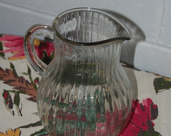 Clear vintage pitcher with ribbing