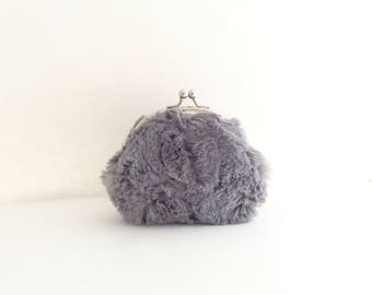 Frame Coin Purse - Gray Fur