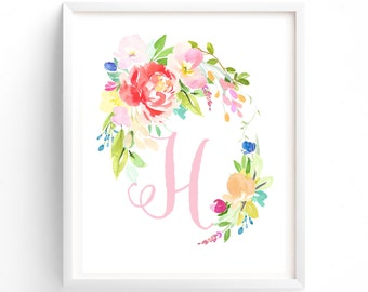 Letter H, Floral Flush Series, Printable Letter Monogram, Nursery Art. Art Prints, Baby Girl Nursery, Wall art Prints