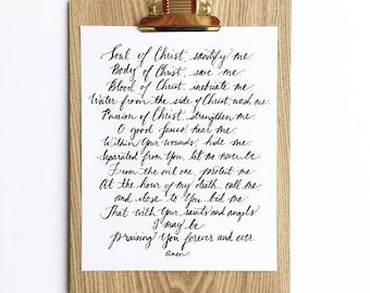 Anima Christi, 8x10 Printable Prayer, Digital print, Gifts for Her, Religious Gifts, Catholic Gift