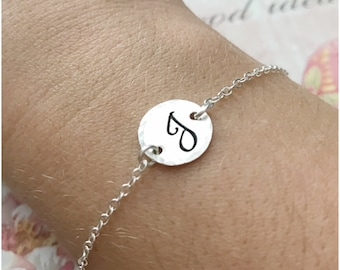 "Silver Initial Bracelet - Fancy Lettering Stamped on Small 1/2"" Disc - Sterling Silver Disc Jewelry - Personalized Disc Initial Jewelry"