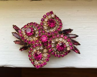 Vintage Flower Fushia, Purple, Pink Stone Brooch Pin