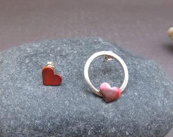 Heart Stud Earrings, Sterling Silver Stud Earrings, Copper Earrings, Post Earrings, Handmade Jewelry, Mixed Metal Earrings Christmas Jewelry