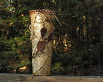 Birch Bark Vase with Birch Leaves
