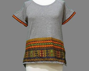 Dashiki African Inspired Ladies Drop Tail Tshirt