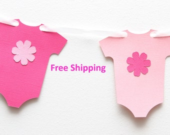 Bright pink and light pink Baby Onesie/Body suit garland - baby shower, dessert table decoration, banner, bunting