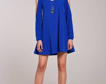casual summer dress, Blue dress, summer midi dress, dress with long sleeves, loose dress, fashion dress, vacation dress, trendy clothing