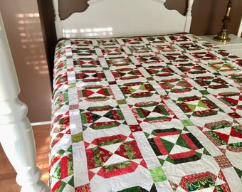 Jingle Bell Square Queen/King Size Bed Quilt Beautiful for Holiday  or Christmas