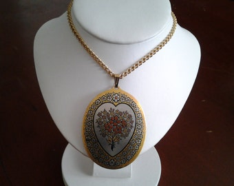 Vintage Reed & Barton Damascene necklace and earring set