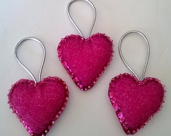 """Set of 3 Handmade PINK Sparkly  Felt and Sequin Heart Ornaments 2""""x2"""""""