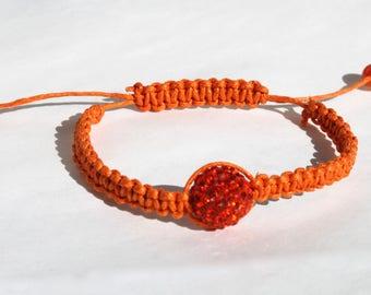 Orange Macramé Sparkle Bracelet