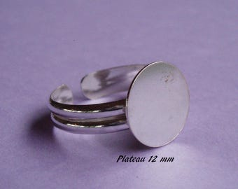 Ring in sterling silver. 925, 12 mm round flat top