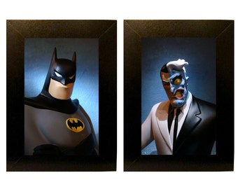 "Framed Batman Cartoon Toy Photographs 5"" x 7"""
